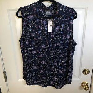 Blue floral sleeveless shirt